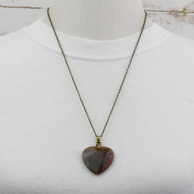 Indian agate heart pendant on antiqued brass chain