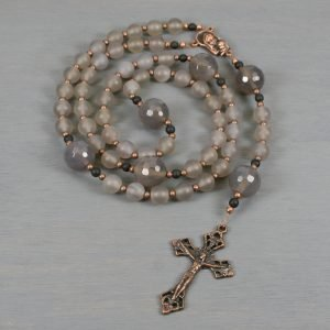 Gray agate and antiqued copper rosary in the Roman Catholic style