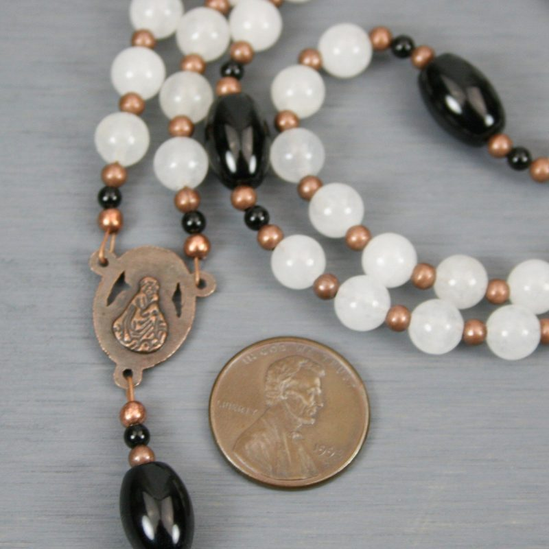 Snow quartz, black onyx, and antiqued copper rosary in the Roman Catholic style