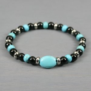 Turquoise magnesite and obsidian stretch bracelet with stainless steel spacers