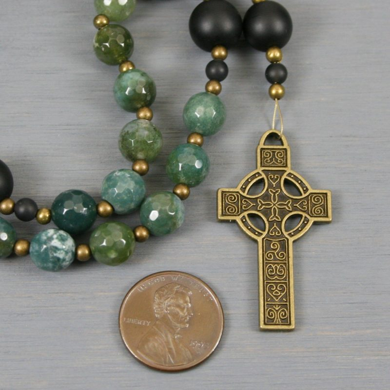 Anglican rosary in matte moss agate and black onyx with a bronze colored Celtic cross