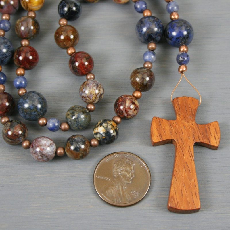 Anglican rosary in pietersite and dumortierite with a bayong wood cross