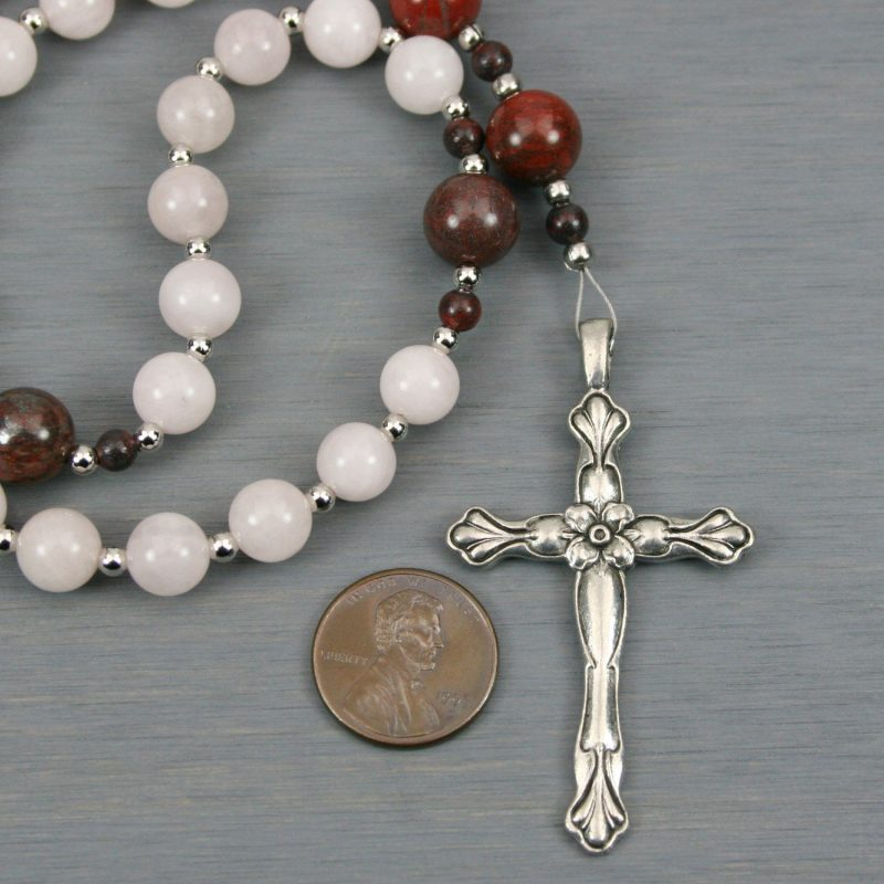 Anglican rosary in rose quartz and brecciated jasper with an antiqued pewter cross