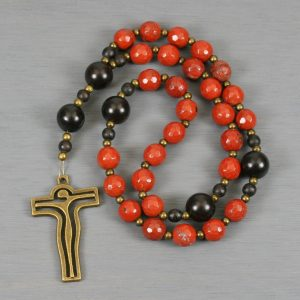 Anglican rosary in red jasper and ebony blackwood with an antiqued brass contemporary crucifix