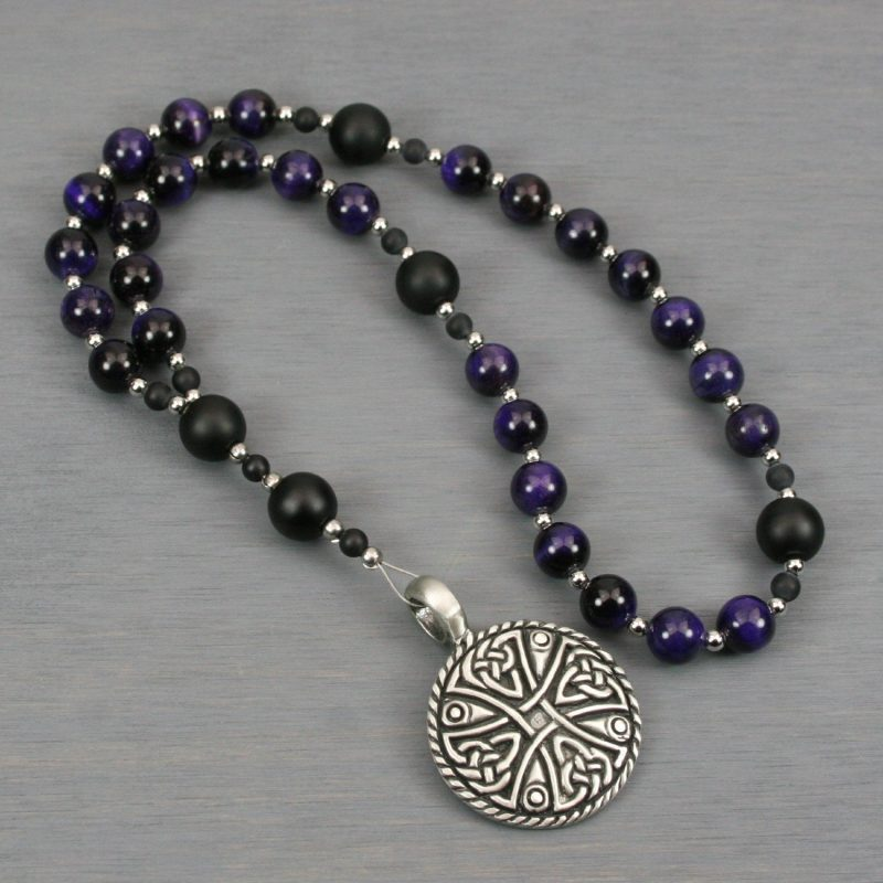 Anglican rosary in purple tiger eye and matte black onyx with an antiqued pewter round Celtic cross