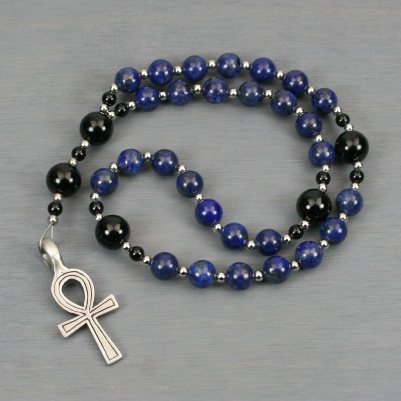 Anglican rosary in lapis lazuli and black onyx with an antiqued pewter ankh cross