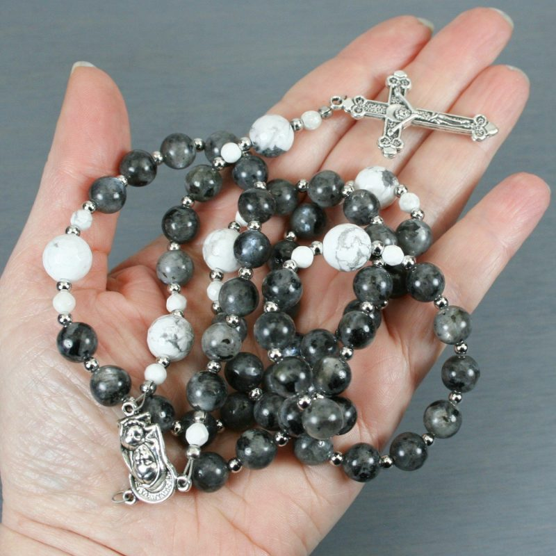 Larvikite, faceted white howlite, and silver rosary in the Roman Catholic style