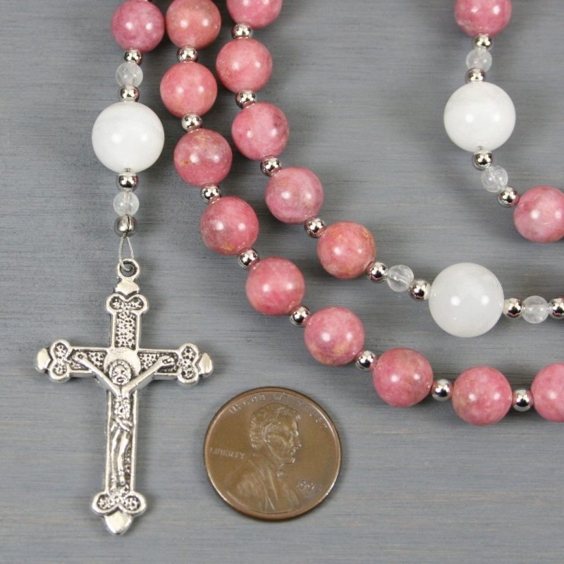Rhodonite, moonstone, and silver rosary in the Roman Catholic style