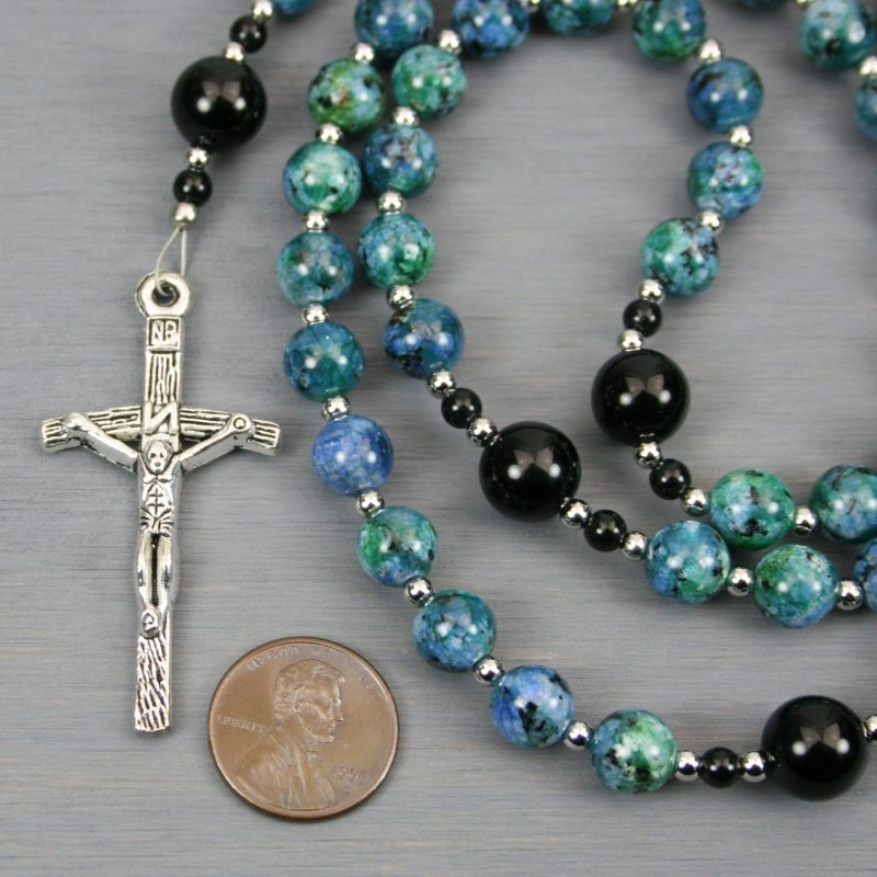 Green-blue jade, obsidian and silver rosary in the Roman Catholic style