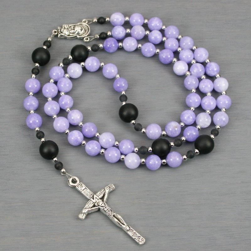 Lilac jade, matte black onyx, and silver rosary in the Roman Catholic style