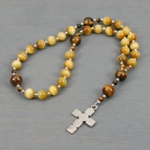 Anglican rosary in honey tiger eye and brown tiger eye with a stainless steel cross