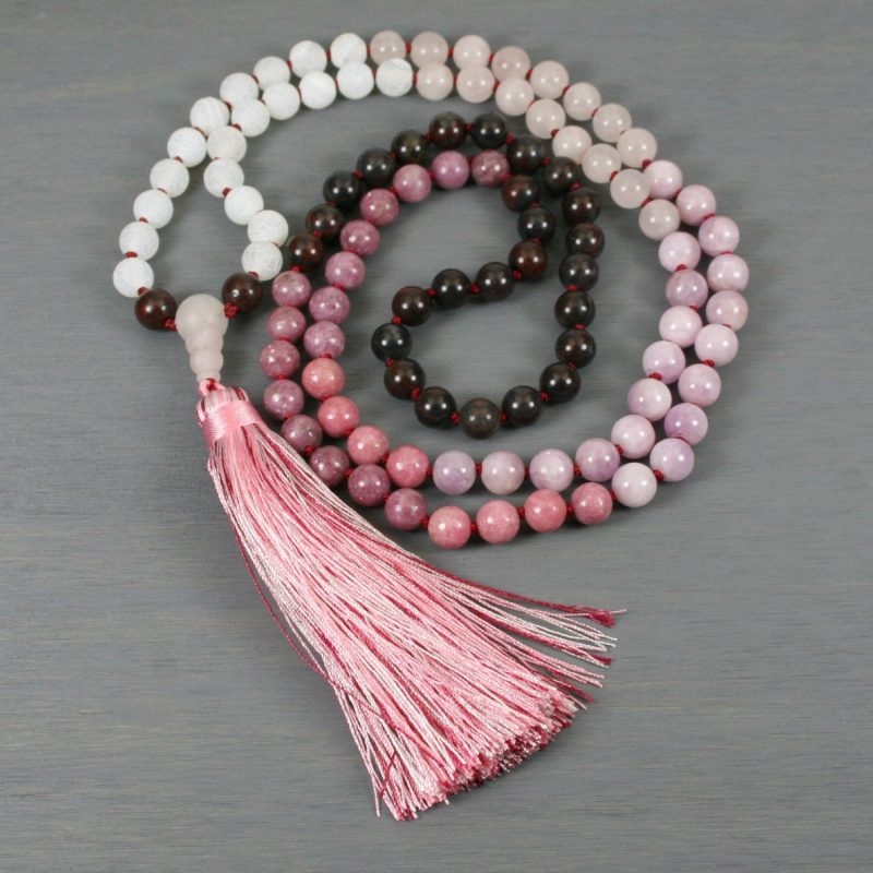 Ombre pink to red stone hand knotted mala with tassel