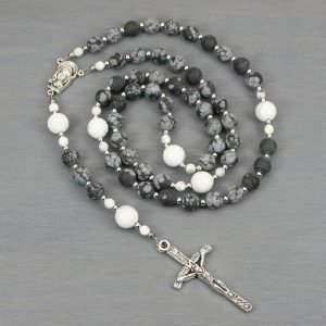 Snowflake obsidian, white howlite, and silver rosary in the Roman Catholic style