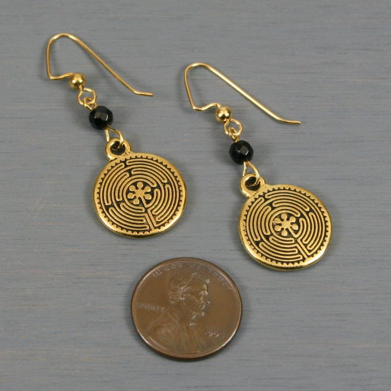 Antiqued gold labyrinth dangle earrings with black agate
