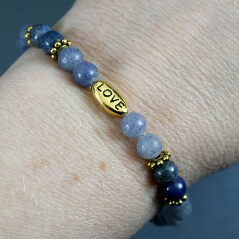Blue aventurine and dumortierite stretch bracelet with a gold plated LOVE bead