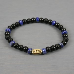 Obsidian and lapis lazuli stretch bracelet with a gold plated FAITH bead