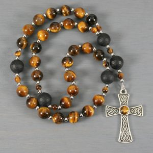 Anglican rosary in tiger eye and black onyx with Celtic knot cross