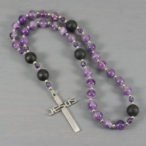 Anglican rosary in amethyst and black onyx with a stainless steel Jesus cross