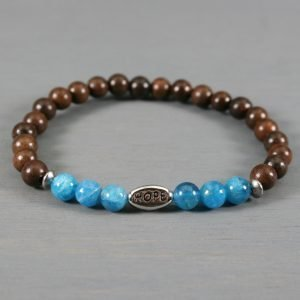 Apatite and ebony blackwood stretch bracelet with a silver HOPE bead